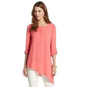 Chico's Coral Ali Diagonal-Hem Top 2